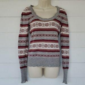 Aphorism Sweater Gray, Red, White & Tan Medium